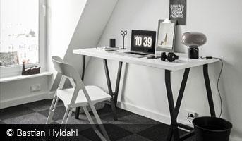 Bastian Hyldahl scandinavian attic workspace 3D contest
